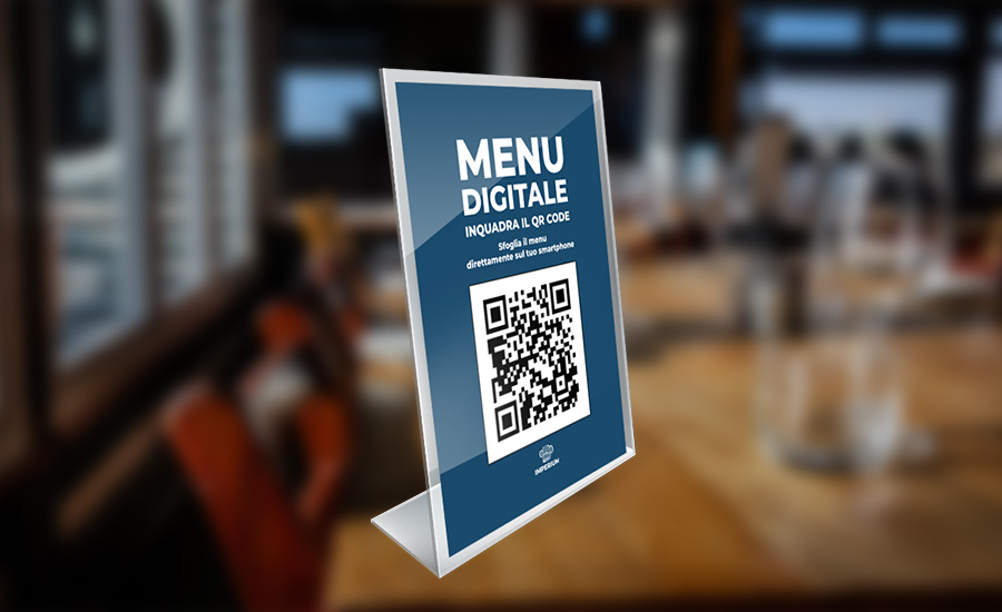 Imperium Menu QR in plexiglass sanificabile